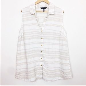 Ellen Tracy   Striped Sleeveless Linen Button Down